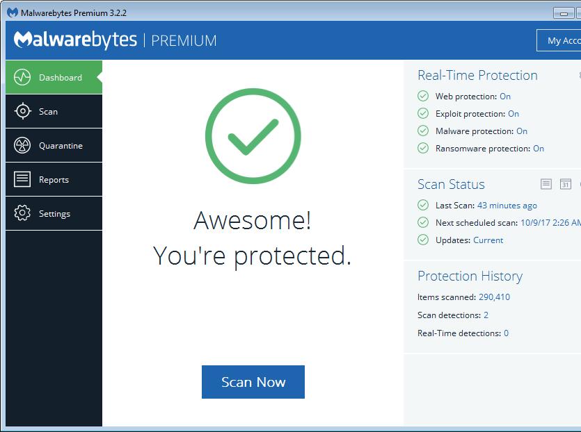 تفعيل داماس لبرنامج الحماية Malwarebytes Premium 3.2.2.2029