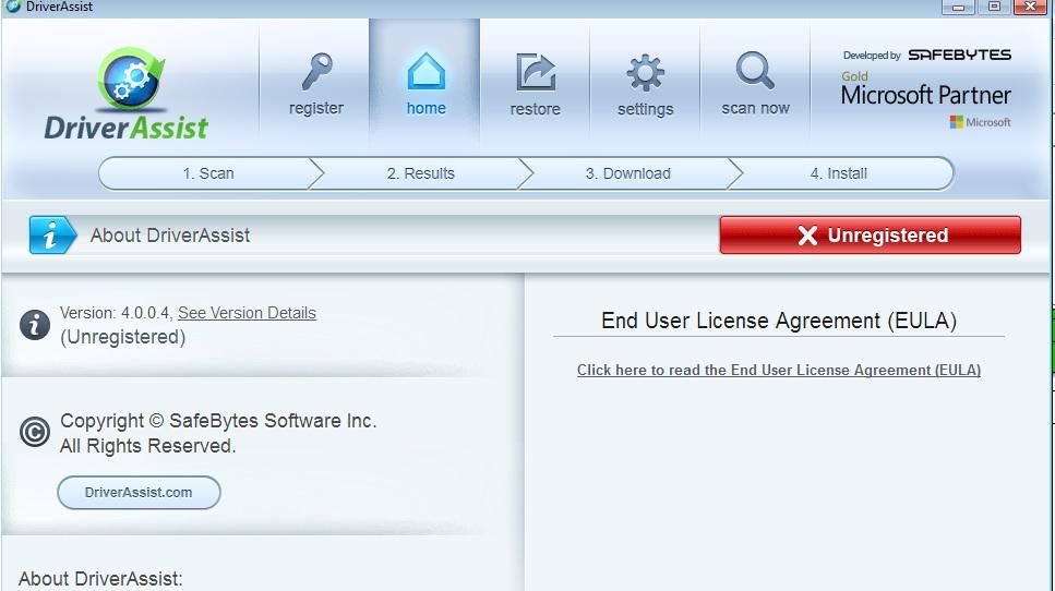 بيانات التسجيل لبرنامج تعريفات Driver Assist