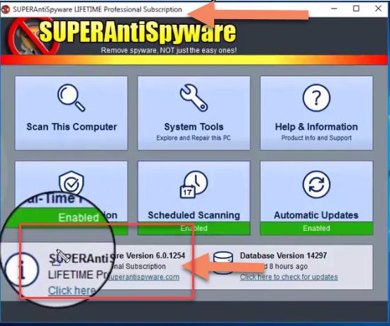 SUPERAntiSpyware Professional 6.0.254 version lifetime