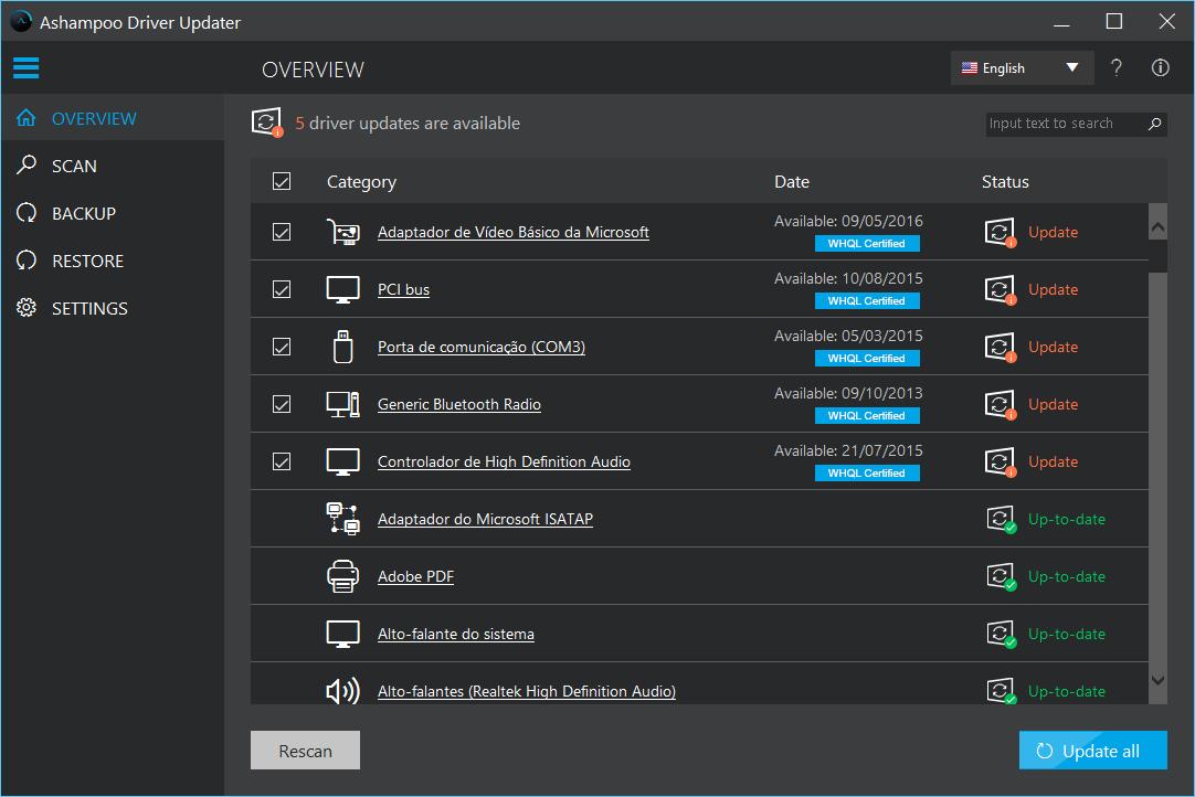 برامج تحديث التعريفات Ashampoo Driver Updater 1.2.1.5
