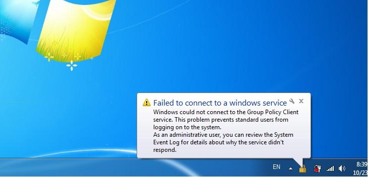 استيطع الاتصال windows service
